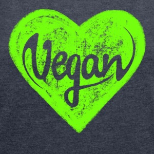 Vegan - a heart for animals, protection, nature,   Sweat-shirts - T-shirt Femme à manches retroussées