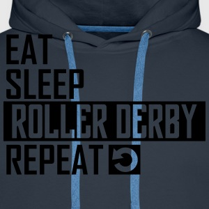 eat sleep roller derby T-Shirts - Männer Premium Hoodie