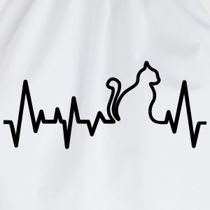 Cat Heartbeat Line T-Shirts - Drawstring Bag