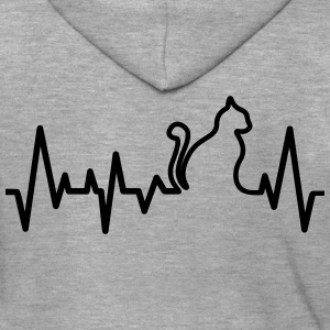 Cat Heartbeat Line T-Shirts - Men's Premium Hooded Jacket