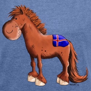 Funny Icelandic Horse Hoodies & Sweatshirts - Women's T-shirt with rolled up sleeves