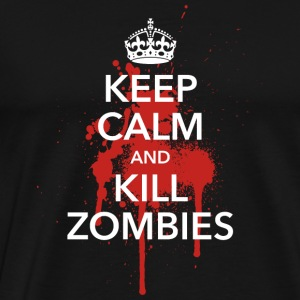 keep calm and kill zombies Halloween Blut Krone - Männer Premium T-Shirt