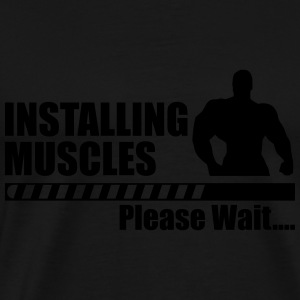 Installing muscles - funny gym - Herre premium T-shirt