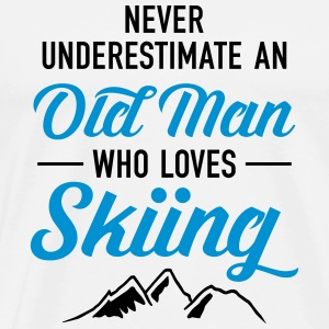 Never Underestimate An Old Man Who Loves Skiing Gensere - Premium T-skjorte for menn