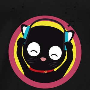 Cat with headphones listening to music Tops - Men's Premium T-Shirt
