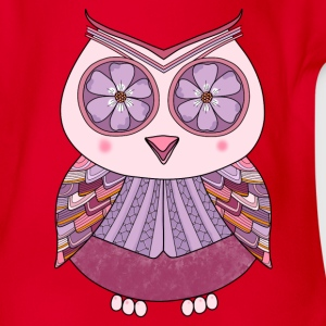 Flower Owl t-shirt for teens - Organic Short-sleeved Baby Bodysuit
