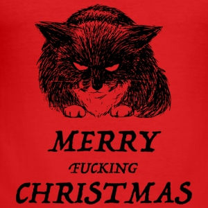 bad cat merry christmas Pullover & Hoodies - Männer Slim Fit T-Shirt