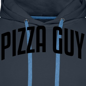 pizza guy stylish arched text logo - Men's Premium Hoodie
