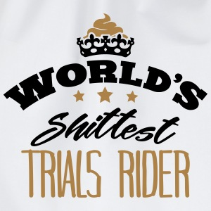 worlds shittest trials rider - Drawstring Bag