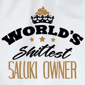 worlds shittest saluki owner - Drawstring Bag