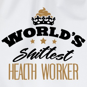 worlds shittest health worker - Drawstring Bag
