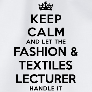 keep calm let the fashion  textiles lect - Drawstring Bag
