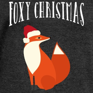 Foxy Christmas T-Shirts - Women's Boat Neck Long Sleeve Top