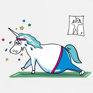 Fat Unicorn doing sports Muggar & tillbehör - Premium-T-shirt herr