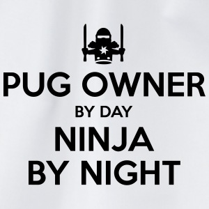 pug owner day ninja by night - Drawstring Bag