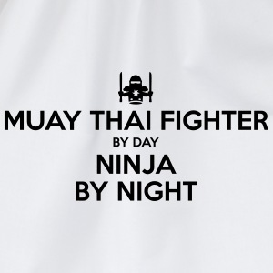 muay thai fighter day ninja by night - Drawstring Bag