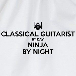 classical guitarist day ninja by night - Drawstring Bag