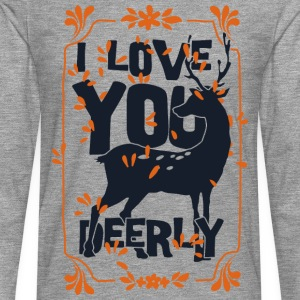 I love you deerly- Liebe Hirsch Reh Tier T-shirts - Långärmad premium-T-shirt herr