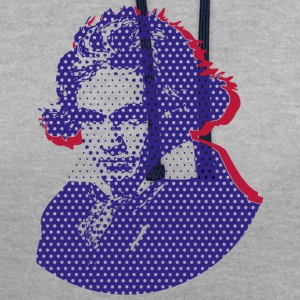 Beethoven in Dots - Blue T-Shirts - Kontrast-Hoodie