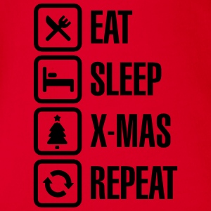 Eat sleep Christmas/X-Mas Repeat Shirts - Baby bio-rompertje met korte mouwen