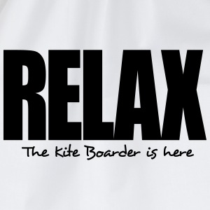 relax the kite boarder is here - Drawstring Bag