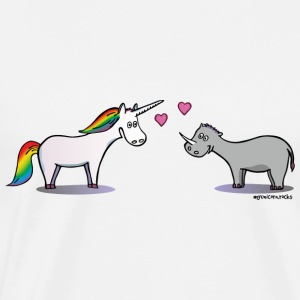 Unicorn & Rhino in love Sports wear - Men's Premium T-Shirt