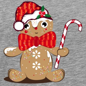 funny gingerbread man with candy cane Other - Men's Premium T-Shirt