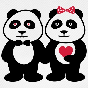 Panda in love - couple, couples - Baseball Cap