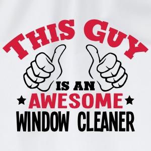 this guy is an awesome window cleaner 2c - Drawstring Bag