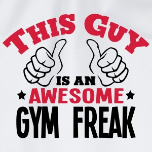 this guy is an awesome gym freak 2col - Drawstring Bag