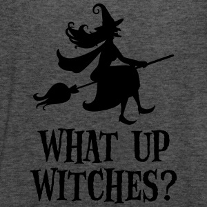 What Up Witches? Funny Witch Riding On Broom T-shirts - Dame tanktop fra Bella
