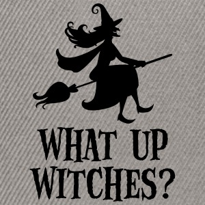 What Up Witches? Funny Witch Riding On Broom Koszulki - Czapka typu snapback