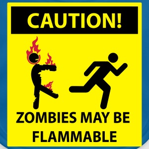 Caution: Zombies May Be Flammable! Sign Shirts - Baby Organic Bib