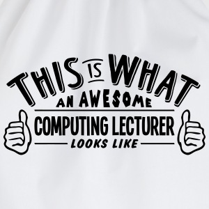 awesome computer science teacher looks l - Drawstring Bag