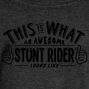 awesome stunt rider looks like pro desig - Women's Boat Neck Long Sleeve Top