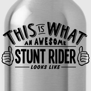awesome stunt rider looks like pro desig - Water Bottle
