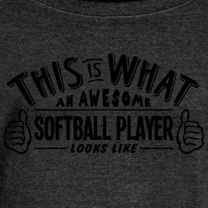 awesome softball player looks like pro d - Women's Boat Neck Long Sleeve Top