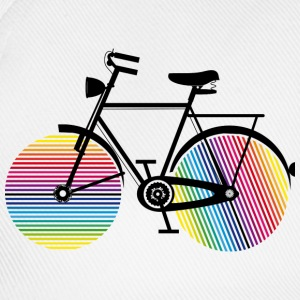 Bicycle with rainbow wheels Buttons - Baseball Cap