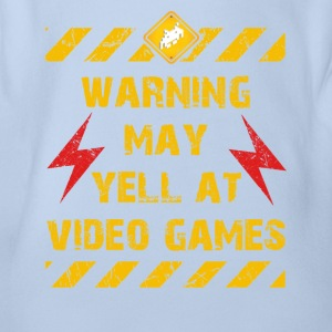 Warning Video Games T-Shirts - Baby Bio-Kurzarm-Body
