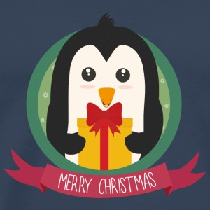 Penguin with Christmas gift Long Sleeve Shirts - Men's Premium T-Shirt