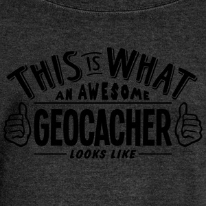 awesome geocacher looks like pro design - Women's Boat Neck Long Sleeve Top