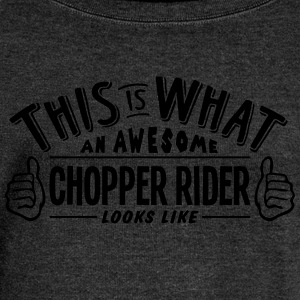 awesome chopper rider looks like pro des - Women's Boat Neck Long Sleeve Top