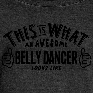 awesome belly dancer looks like pro desi - Women's Boat Neck Long Sleeve Top