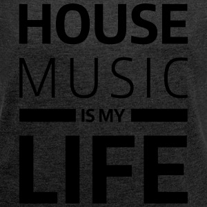 house music is my life techno Club DJ Musik Gensere - T-skjorte med rulleermer for kvinner