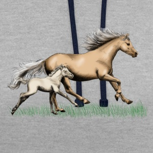 Mare with foal T-Shirts - Contrast Colour Hoodie