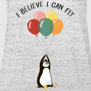I Believe I Can Fly | Funny Penguin With Balloons T-Shirts - Frauen Tank Top von Bella