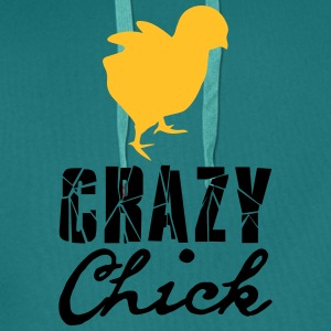 Crazy chick chicken chick chicken cock female fema T-Shirts - Men's Premium Hoodie