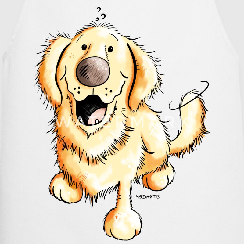 Happy Golden Retriever  Aprons - Cooking Apron