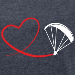 love paragliding Hoodies & Sweatshirts - Women's T-shirt with rolled up sleeves