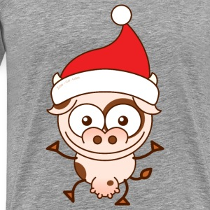 Christmas cow wearing Santa hat Other - Men's Premium T-Shirt